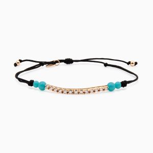String bracelet with diamonds in rose gold and turquoise