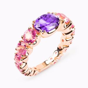 Rose Gold Ring with Pink Topaz
