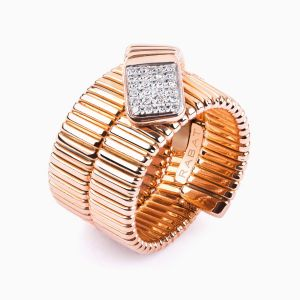 Tubogas Ring in Rose Gold and Diamonds