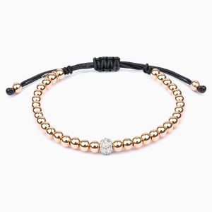 String bracelet with golden beads and diamonds