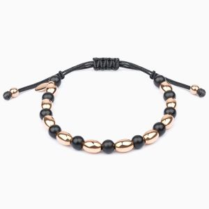 Bracelet Rabat in a black string with gold motifs and onix