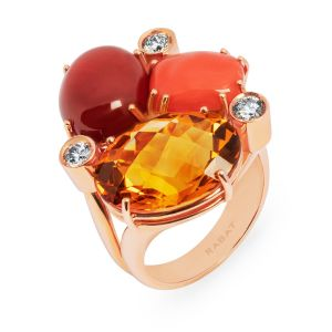 Ring Rabat 70's rose gold with coral and brown diamonds