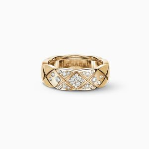 Anillo CHANEL Coco Crush S de oro beige con diamantes