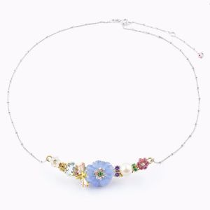 Necklace with enamel flowers