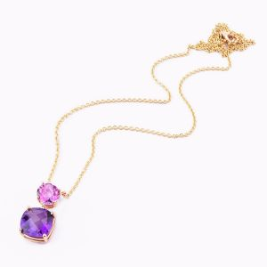 Rose gold necklace with topaz and amethyst