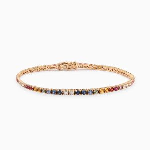 Multicolor sapphires and diamonds bracelet