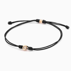 Diamond Chaton Bracelet with Black String