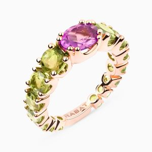 Rose gold ring with amethyst and peridots