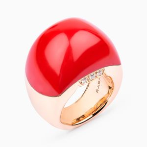 Rose gold ring with coral