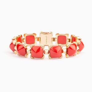 Coral and Diamonds Bracelet