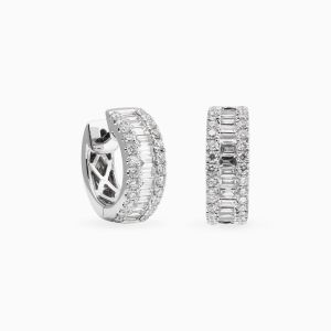 White gold hoops with diamonds