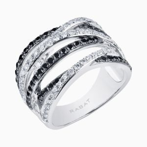 Ring with Black and White Diamonds