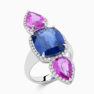 Colored Sapphires and Diamonds Ring
