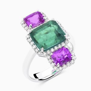 Emerald, Sapphire and Diamond Ring