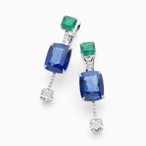 Sapphire, Emerald and Diamond Earrings