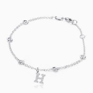 Letter H in Pave Setting with Diamonds Bracelet