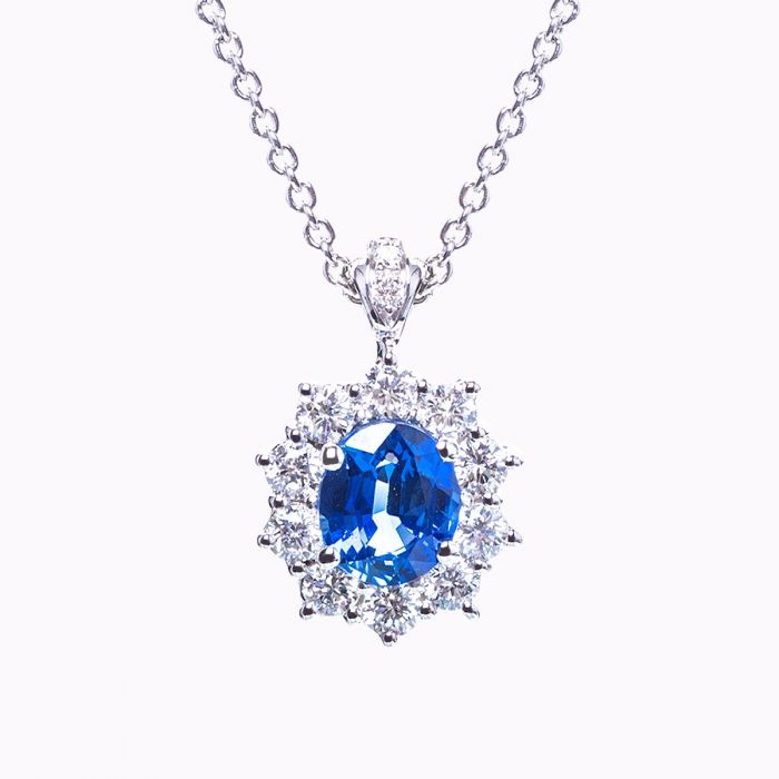 zirconia ct silver sapphire cubic sterling with saphire jewelry pendant in created