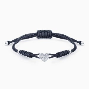 Mini-heart bracelet with diamonds