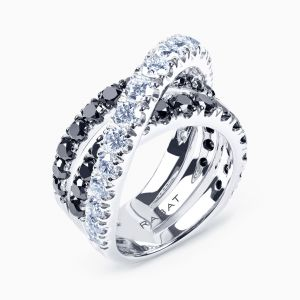 Black and white brilliant cut diamond ring