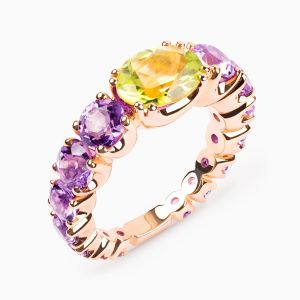 Amethyst, Gold & Peridot Ring