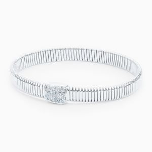 Tube Bracelet with Central Diamond