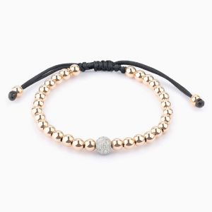 String bracelet, rose gold pearls and diamonds