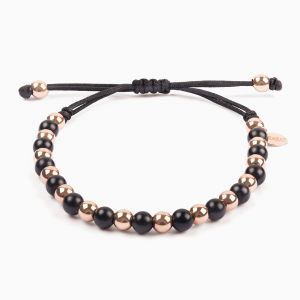 String bracelet, rose gold and onyx pearls