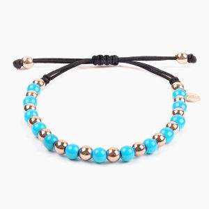 String bracelet, rose gold and turquoise pearls