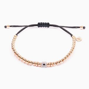 String bracelet, rose gold pearls and diamonds cube