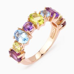 Rose gold ring with colored gems