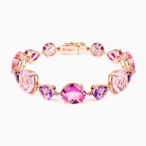 Rose gold bracelet with topazes and amethysts