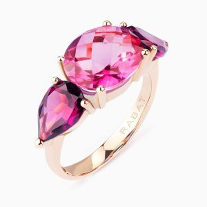 Rose gold ring with topaz and rodolite