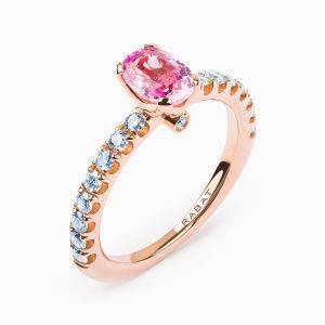 Oval Pink Sapphire Ring with Diamonds