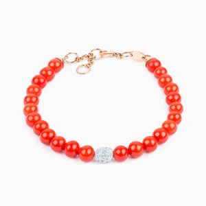 Coral beads and diamonds bracelet