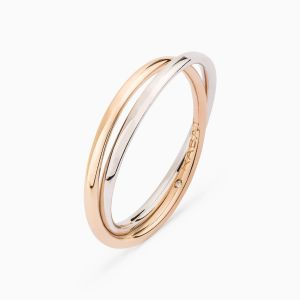 You and Me wedding band in rose and white gold