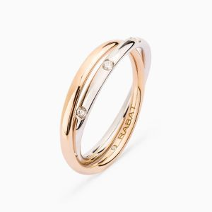 You and Me wedding band in rose and white gold with diamonds