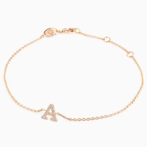 "Letter ""A"" bracelet in rose gold"