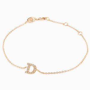 "Letter ""D"" bracelet in rose gold"