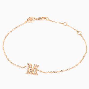 "Letter ""M"" bracelet in rose gold"