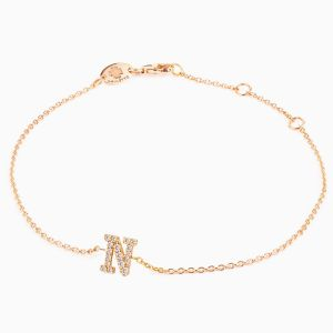 "Letter ""N"" bracelet in rose gold"