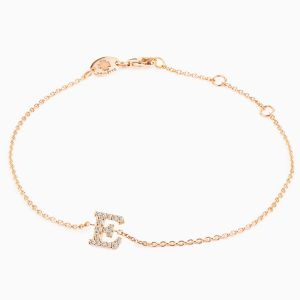 "Letter ""E"" bracelet in rose gold"