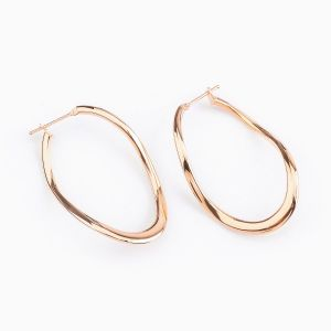 Oval Hoop Earrings in Rose Gold