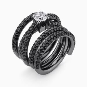 Black Snake Gold Ring with Black Diamonds and a White Diamond