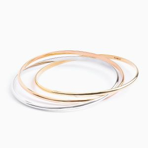 Three Colour Gold Bangle