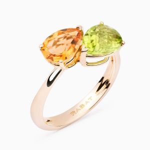 Yellow gold ring with colored gems