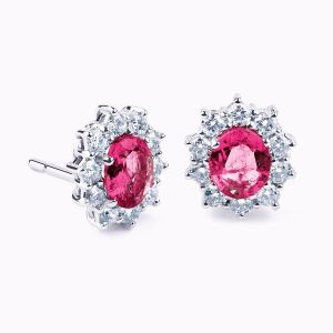 White gold earrings with ruby and diamonds