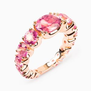 Rubellite and tourmaline ring
