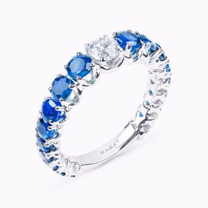 Diamond and sapphires ring
