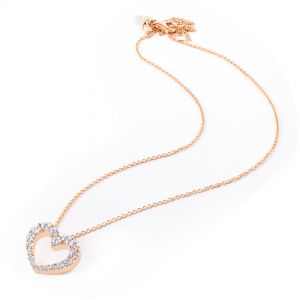 Rose Gold Heart-shaped Pendant with Diamonds
