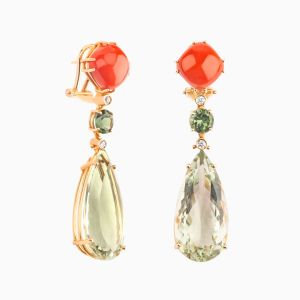 Colourful Natural Stones Long Earrings